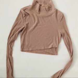 Urban Outfitters Crop Taupe Turtleneck